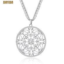 Женское ожерелье с подвеской в виде цветка кристаллами