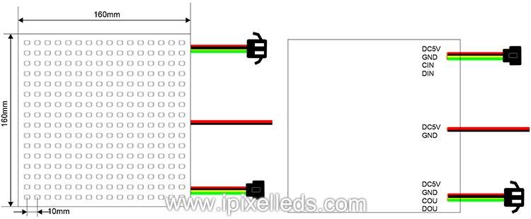 16x16 do ponto do diodo emissor de