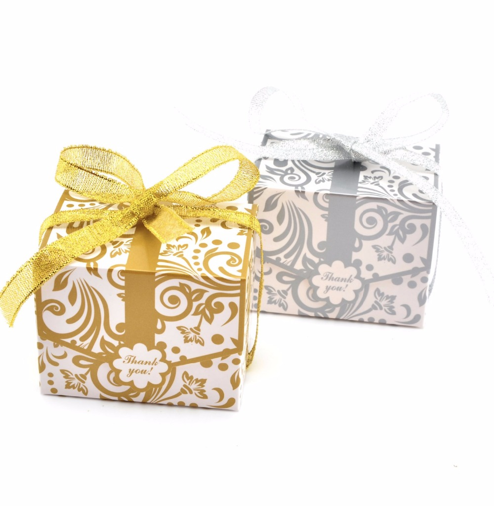 100pcs European Silver/Gold flower pattern wedding candy box plum ...