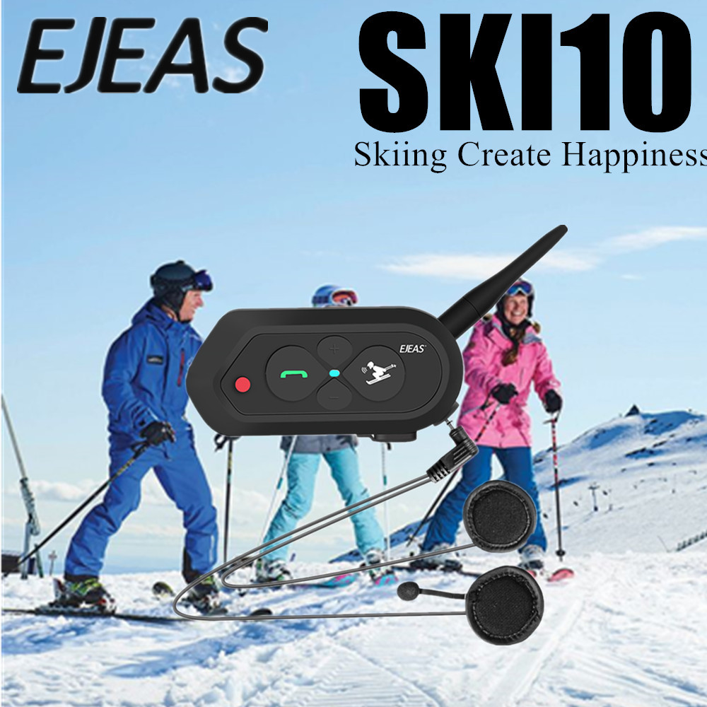 SKI10 Skiing Contact Intercom Professional Bluetooth Helmet Headset Auto Reconnection Intercommunicador For 2 Skiers IP65 MP3