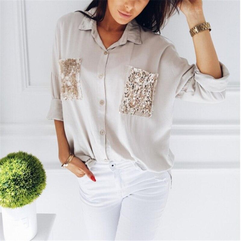 Блузка с карманами с пайетками | Aliexpress