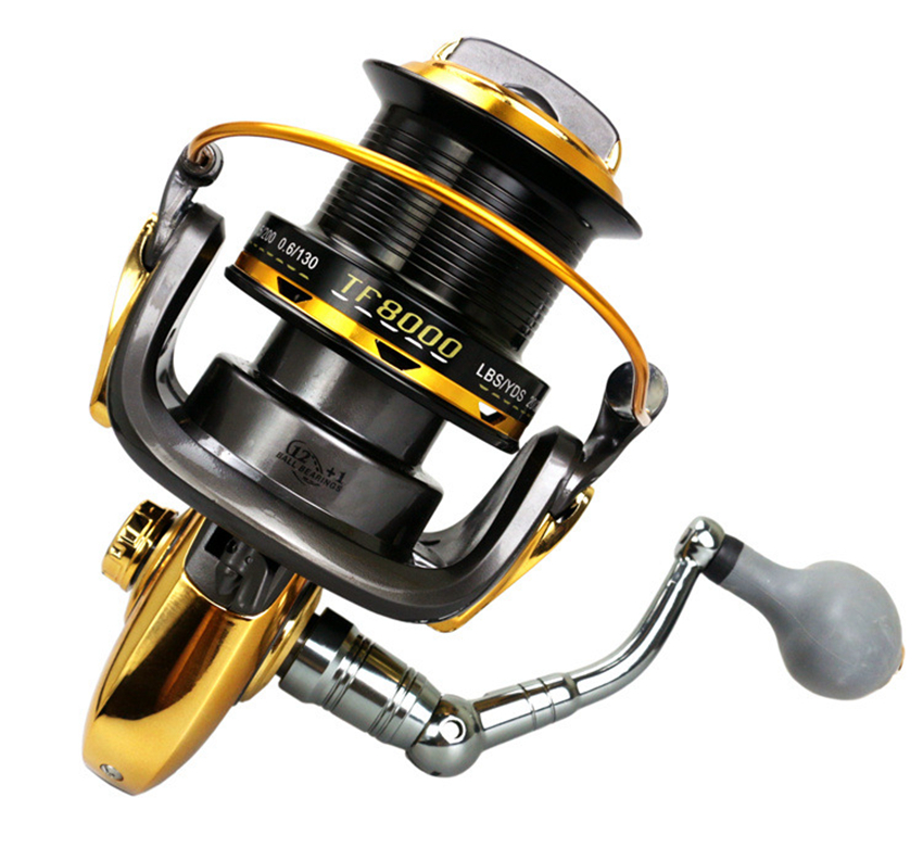 8000-10000Size 12+1 Ball Bearings Big Trolling Fishing Reels Spinning Metal Fishing Reel Carp Carretilha de pesca molinete 3bb ball bearings left right interchangeable collapsible handle fishing spinning reel se200 5 2 1 with high tensile gear red