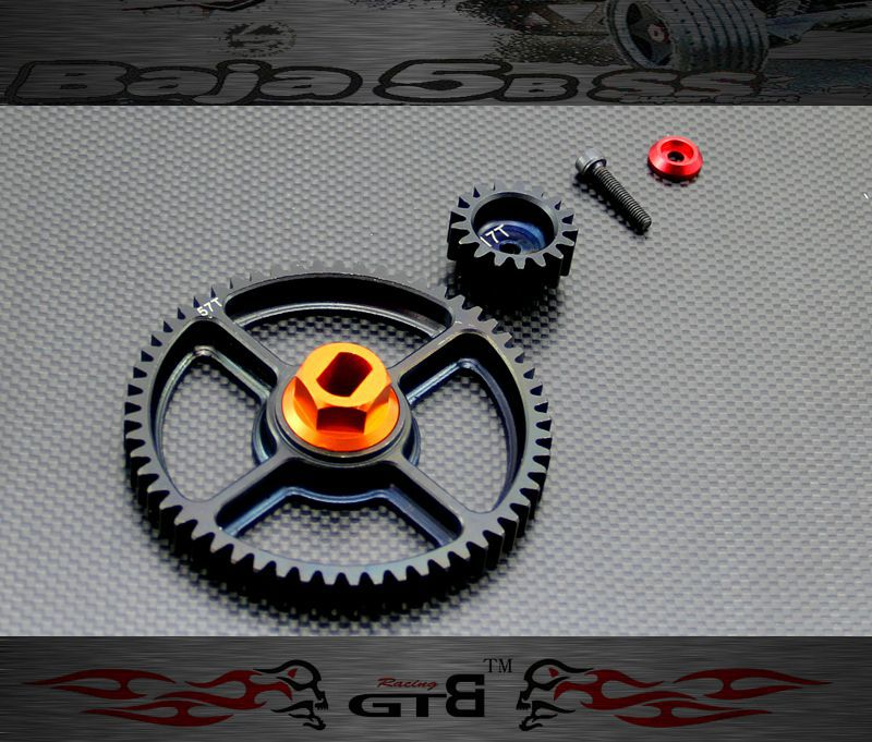 GTBRacing 57th & 17th Gear set FOR hpi km rv baja 5b ss 5t 5sc GR046 two speed gear cover for 1 5 hpi baja 5b 5t 5sc