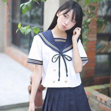 Giapponese Classe Uniforme Della Scuola Studentessa Marinaio Vestito Uniforme Estiva Vestito Coreano Manica Corta Marina Britannica Vento Cos Vestito Vendita Calda 50-70% Di Sconto