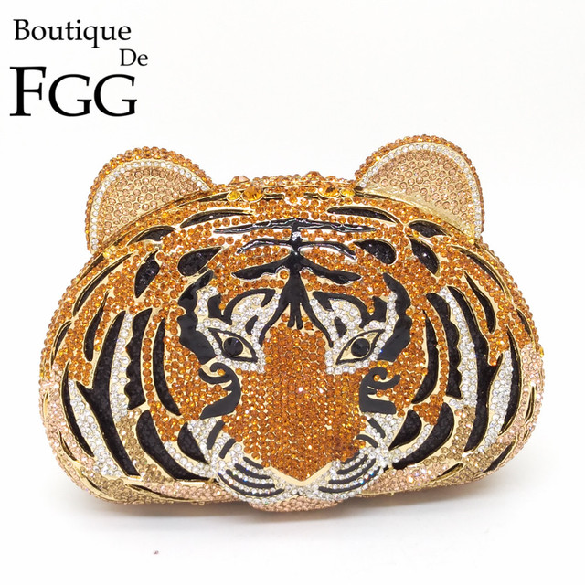 Boutique De FGG Cara Do Tigre Strass Bolsas Femininas Embreagens Purse Saco De Noite De Cristal do Metal Escavar Diamantes Embreagem Casamento