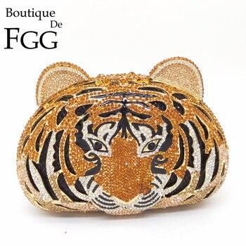 Boutique De FGG Tiger Gesicht Strass Frauen Handtaschen Kristall Tasche Abend Metall Kupplungen Geldbörse Aushöhlen Diamant Hochzeit Kupplung