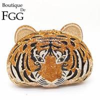Boutique De FGG Tiger Face Rhinestone Women Handbags Crystal Bag Evening Metal Clutches Purse Hollow Out Diamond Wedding Clutch