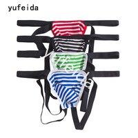 YUFEIDA Groothandel 4 STKS 95% Katoen Mannelijke mannen Ondergoed Sexy Slips Bikini G-string String Shorts Exotische Jocks Slipje Mannen's Thong