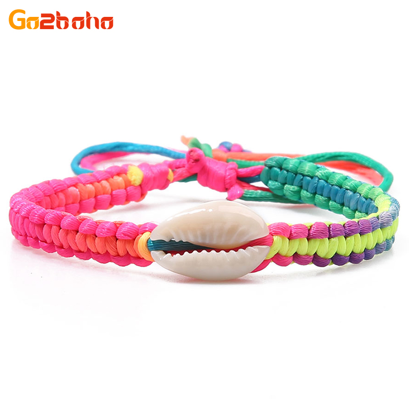 Go2boho Shell Charm Bracelets & Bangles Women Rope Chain Handmade Bracelet Colorful Weave Friendship Bangle Fashion Jewelry 2018