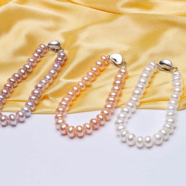 HENGSHENG White Pearl Bracelets 100% 8-9mm 18cm Length Bread Round Natural Freshwater Pearl Hot Sale Jewelry Bracelets For Women