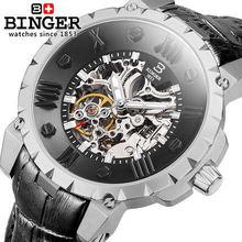 Top Brand Binger Men Full Steel Hand Wind Watch Classic wristwatch Steampunk Skeleton Mechanical Fashion Stainless