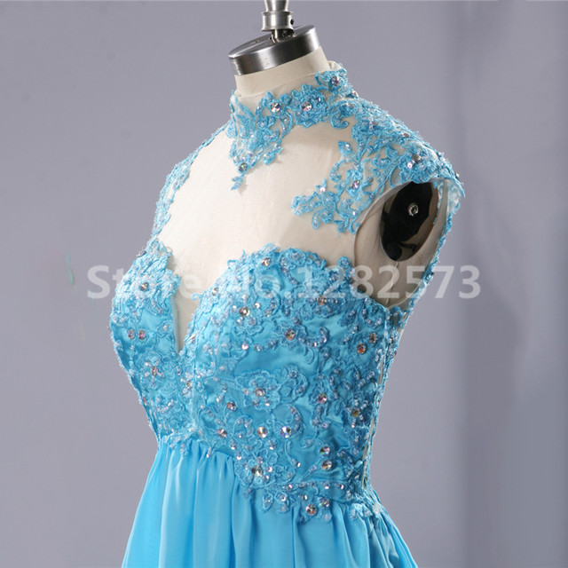 Online Shop Illusion Back Cocktail Dresses with Lace High Neck ...