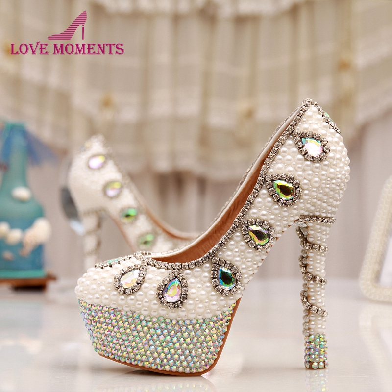 AB Crystal Heel Wedding Shoes White Pearl Bridal Shoes 14cm High Heel Party Prom Shoes Rhinestone Platform Pumps cinderella high heels crystal wedding shoes 14cm thin heel rhinestone bridal shoes round toe formal occasion prom shoes