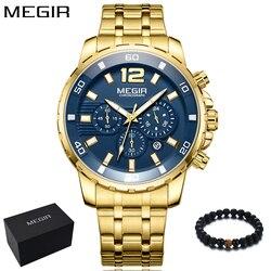 Megir novo relógio de luxo masculino ouro topo marca moda azul relógio de quartzo masculino relógios de pulso relojes hombre 2018