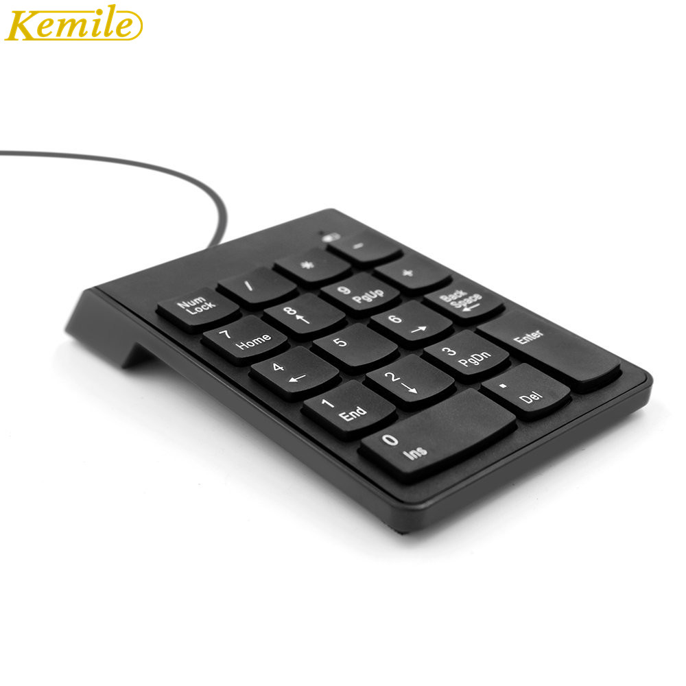 Kemile Wired Mini USB ciparu tastatūra Numpad 18 Keys Digitālā tastatūra iMac / MacBook Air / Pro klēpjdatoru piezīmjdatora darbvirsmai