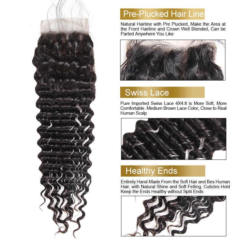 Paquetes de pelo virginal peruano con cierre 4 piezas LOT profunda onda paquetes con cierre sin procesar rizado profundo peruano Funmi pelo