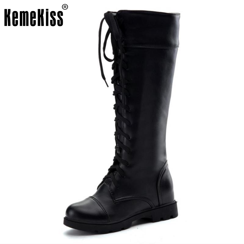 New Fashion Women's Boots Lace Up Knee High Boots Women Martin Boots Flats Casual Punk Footwear Shoes Woman Size 34-43 girls fashion punk shoes woman spring flats footwear lace up oxford women gold silver loafers boat shoes big size 35 43 s 18