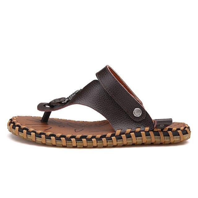 e3967d2f0fa0b 2017 Leather Sandals Men Black Brown Flip Flops Casual Flat Sandals New Summer  Beach Slipper Men