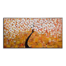 Modern art white flower tree oil painting palette knife canvas art textured flower oil paing