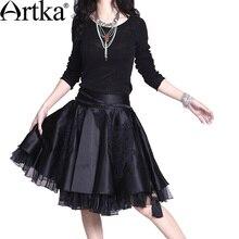 ARTKA Women's New Summer Dreamland Elegant Luxurious Silk Crinoline Organza Handmade Battenburg Lace Midi Skirt A06378