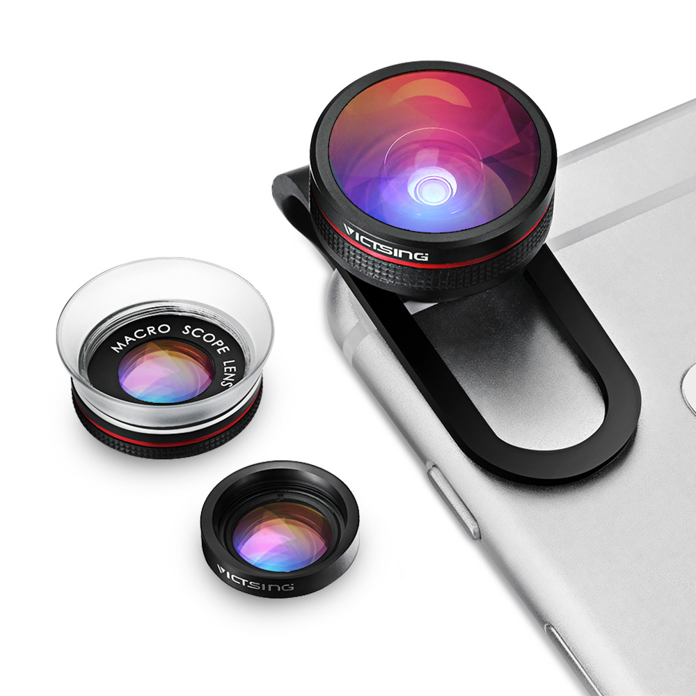 VICTSING Clip-on 3 in 1 Camera Phone Lens Kit Fisheye Lens + 12X Macro + 24X Super Macro Lens for iPhone 6s 6 Plus etc Cellphone 10