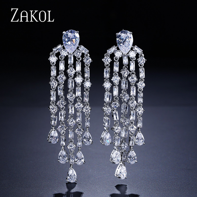 ZAKOL Romantic Women/Ladies Earring Luxury Cubic Zircon Sliver Color Drop Earring For Bridal Tassel Jewelry FSEP430