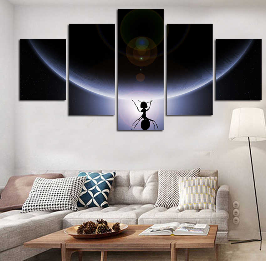 Modern 5 Adet Uzay Tuval Boyama Hd Baskili Hilal Uzay Ay Resim Ev