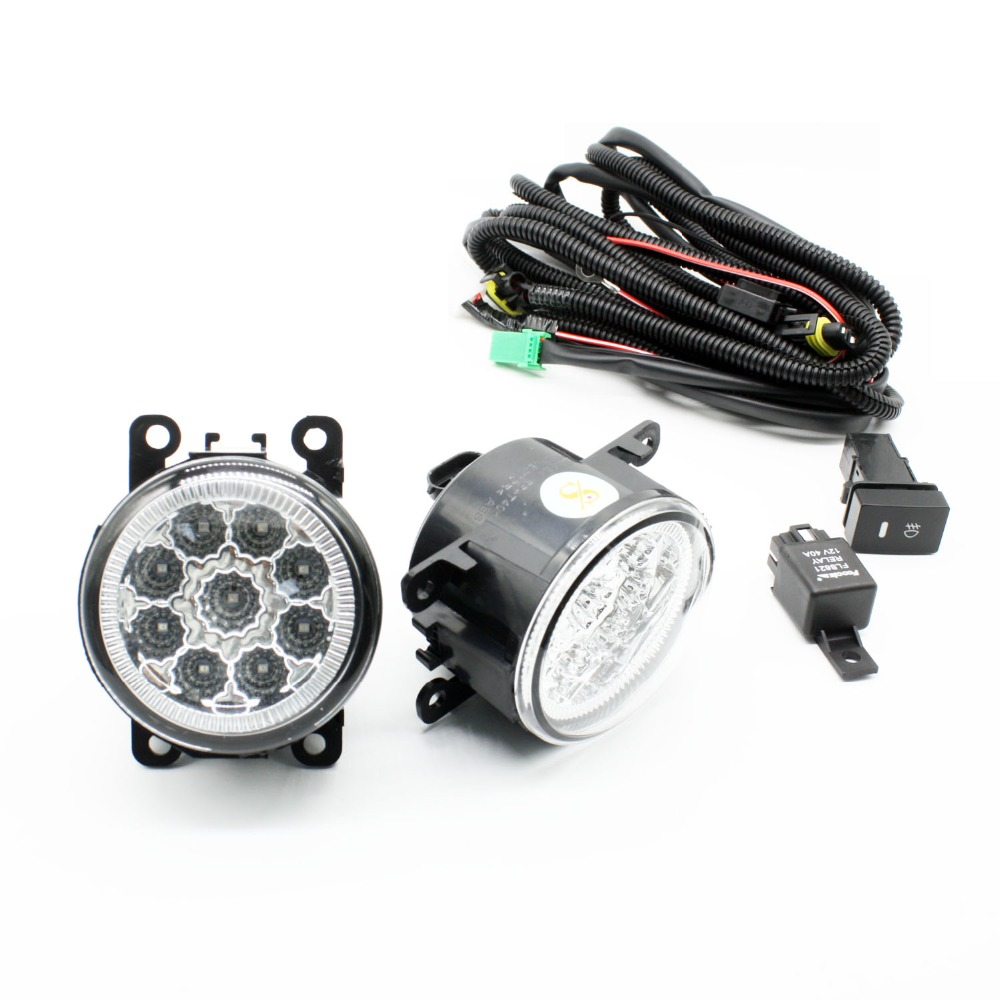 H11 Wiring Harness Sockets Wire Connector Switch + 2 Fog Lights DRL Front Bumper LED Lamp Blue For DACIA LOGAN Saloon LS_ 04-12 for renault logan saloon ls h11 wiring harness sockets wire connector switch 2 fog lights drl front bumper 5d lens led lamp