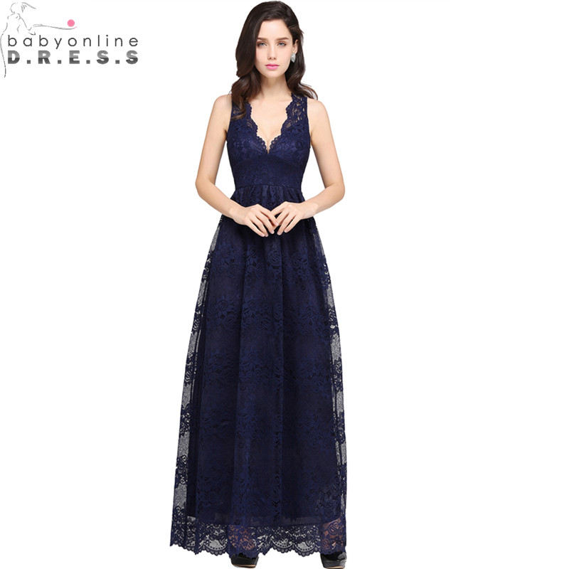 Robe de Soiree Longue Cheap Lace Navy Blue Burgundy ...- photo #47