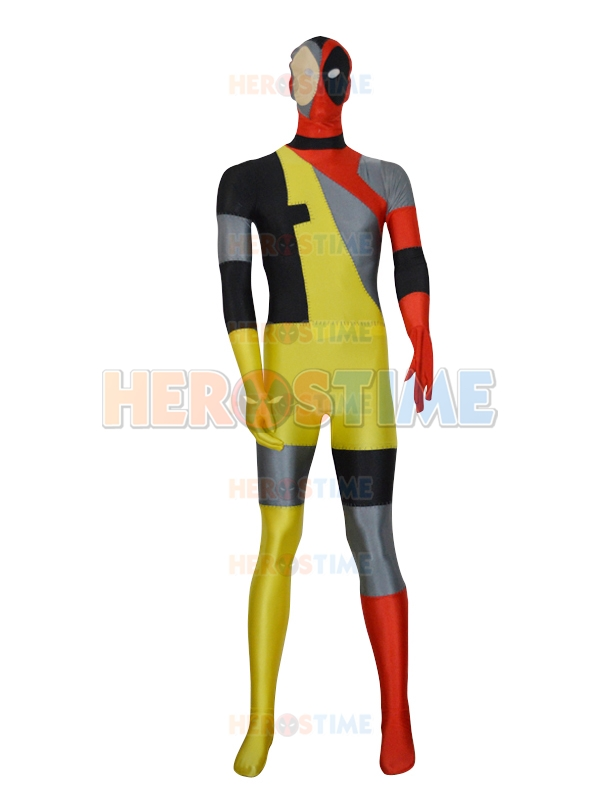 New Style Deadpool Costume Spandex Lycra Fullbody Male Deadpool Superhero Costume Halloween Cosplay Zentai Suit Free Shipping