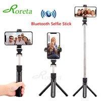 Roreta nowy 3 w 1 Bluetooth bezprzewodowy Selfie stick z pilotem uchwyt do Selfie składany przenośny statyw do iPhone XR w Kijki selfie od Elektronika użytkowa na
