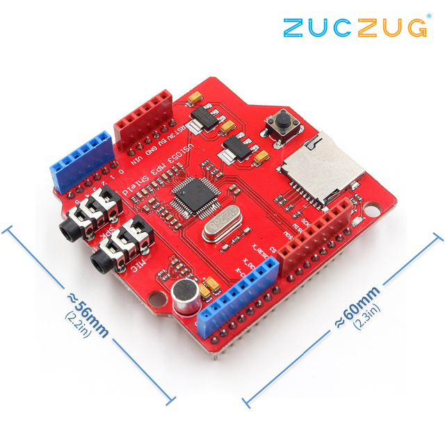 VS1053 VS1053B Stereo Audio MP3 Player Shield Record Decode Development Board Module With TF Card Slot For Arduino UNO R3 One
