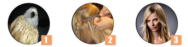 Hair extensions being applied in stages.
