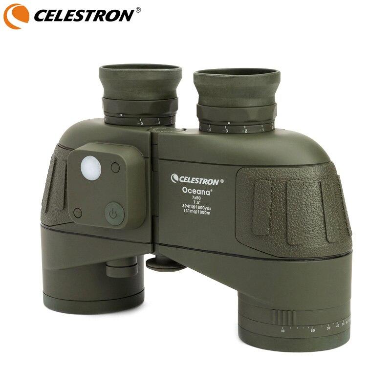 Celestron Oceana 7x50 Porro Binocular Compass positioning high definition waterproof wide angle wide field coordinate Olive