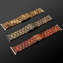 YFWOOD Natural Wood Brand Watch Strap For Apple Watch iwatch With Adapter 42 mm Stainless Steel Link Bracelet Butterfly Buckle