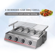 High Quality LPG Gas BBQ Grills, 4 Burners Grills For Outdoor Camping Picnic Barbecue Tools Glass/Stainless Steel Cover