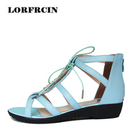 Plus Size 35 43 Women Sandals Summer Style Flat Gladiator Sandals Woman Genuine Leather Low Heel