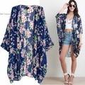 Mulheres Bohemia Étnico Floral Impressão Chiffon Longo Kimono Top Blusa Cardigan