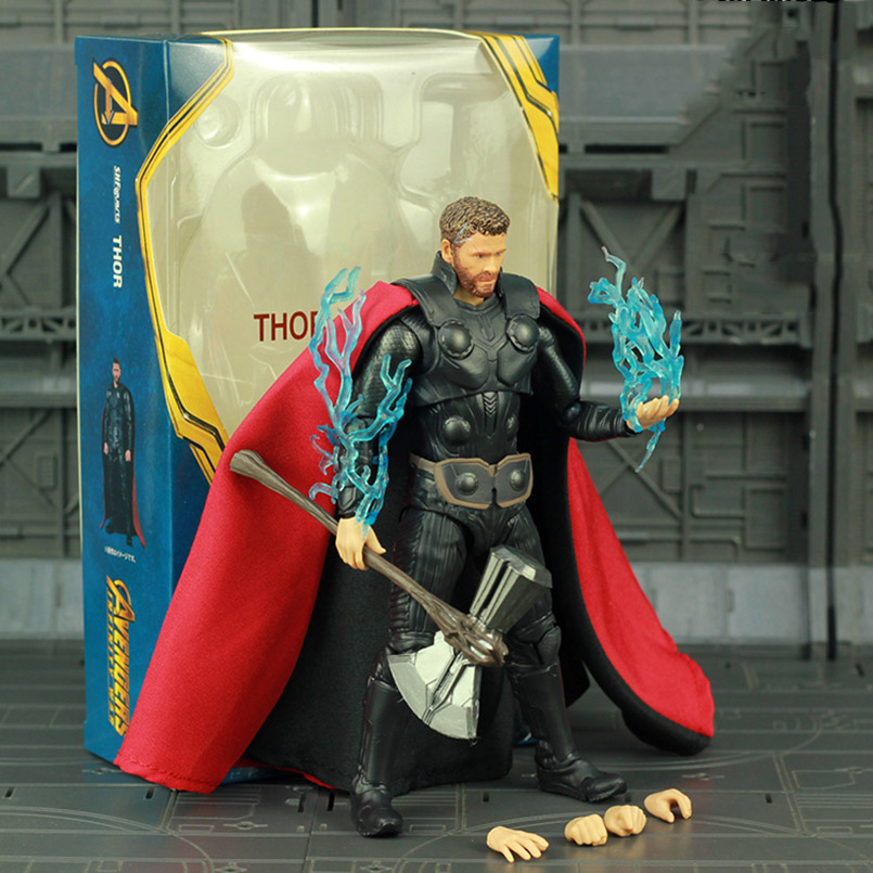 Apaffa 17cm Avengers Endgame SHF Thor PVC Action Figure Toys Thor 4 Figure Thor Toys Collectible Model Toys For Children