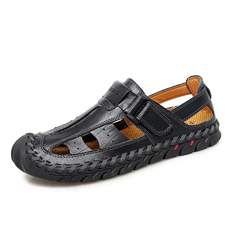 LAISUMK Brand Genuine Leather Summer Soft Male Sandals Shoes For Men Breathable Light Beach Casual Quality Walking Sandal in Men 39 s Sandals from Shoes