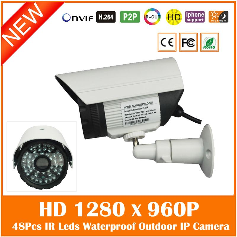 Hd 960p 1.3mp Ip Camera Outdoor Waterproof Bullet Security Surveillance Night Vision Cctv Cmos Metal Webcam Freeshipping Hot wistino white color metal camera housing outdoor use waterproof bullet casing for cctv camera ip camera hot sale cover case