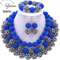 Laanc Fashion Royal Blue and Silver African Beads Jewellery Sets 2017 Nigerian Wedding Necklace and Earrings for Women J3PC036