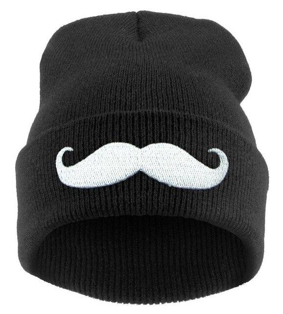 Voronwinter sombrero bigote hombres mujeres acrílico gorros de punto gorros  hip-hop para las 1378e19eefa
