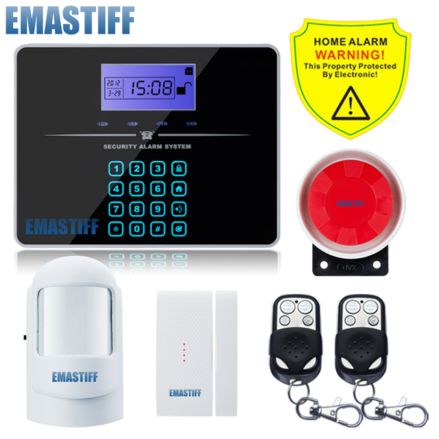 Free Shipping!Wireless SIM GSM Home Burglar Security LCD Touch Keyboard PSTN GSM Alarm System Sensor kit English Russian Voice