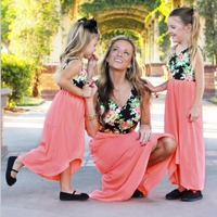 Puseky 2017 Mommy And Me Family Matching Mother Daughter Dresses Clothes Irregular Mom And Daughter Dress