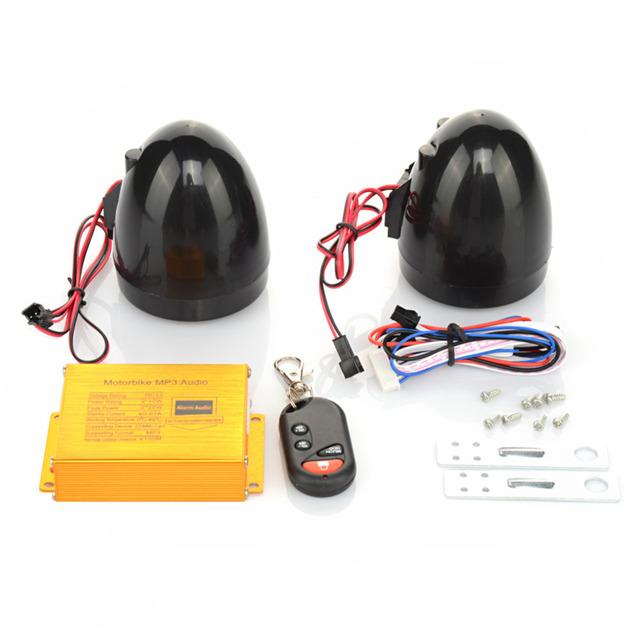 Impermeable moto de la motocicleta Scooter de reproductor de MP3 alarma a distancia inalámbrico altavoces de la radio audio + FM + alarma de alarma anti-thelf ranura SD