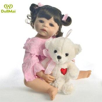 Bebes Reborn doll 57CM Full Body silicone doll Girl Reborn Baby Doll Bath Toy vinyl Newborn Princess boneca with bear gifts