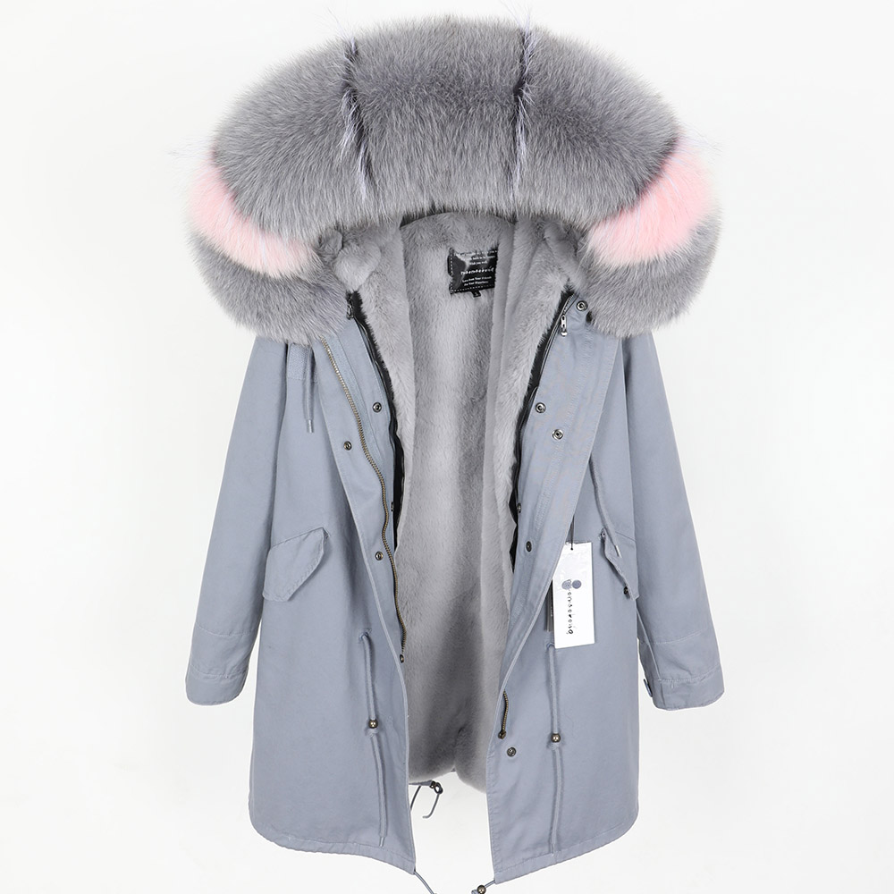 Real Fox Fur Collar Winter Warm Women's Jacket Detachable Padded And Velvet Lined Long Section Parker Coat