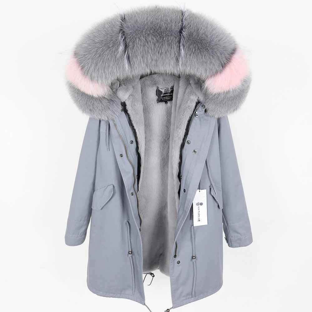 Kadın Giyim'ten Parkalar'de Gerçek tilki kürk yaka kış sıcak kadın ceketi çıkarılabilir yastıklı ve kadife kaplı uzun bölüm Parker ceket'da  Grup 1