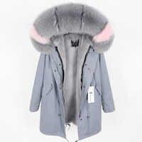 Real fox bontkraag winter warme vrouwen jas afneembare gewatteerde en fluwelen gevoerd lange sectie Parker jas